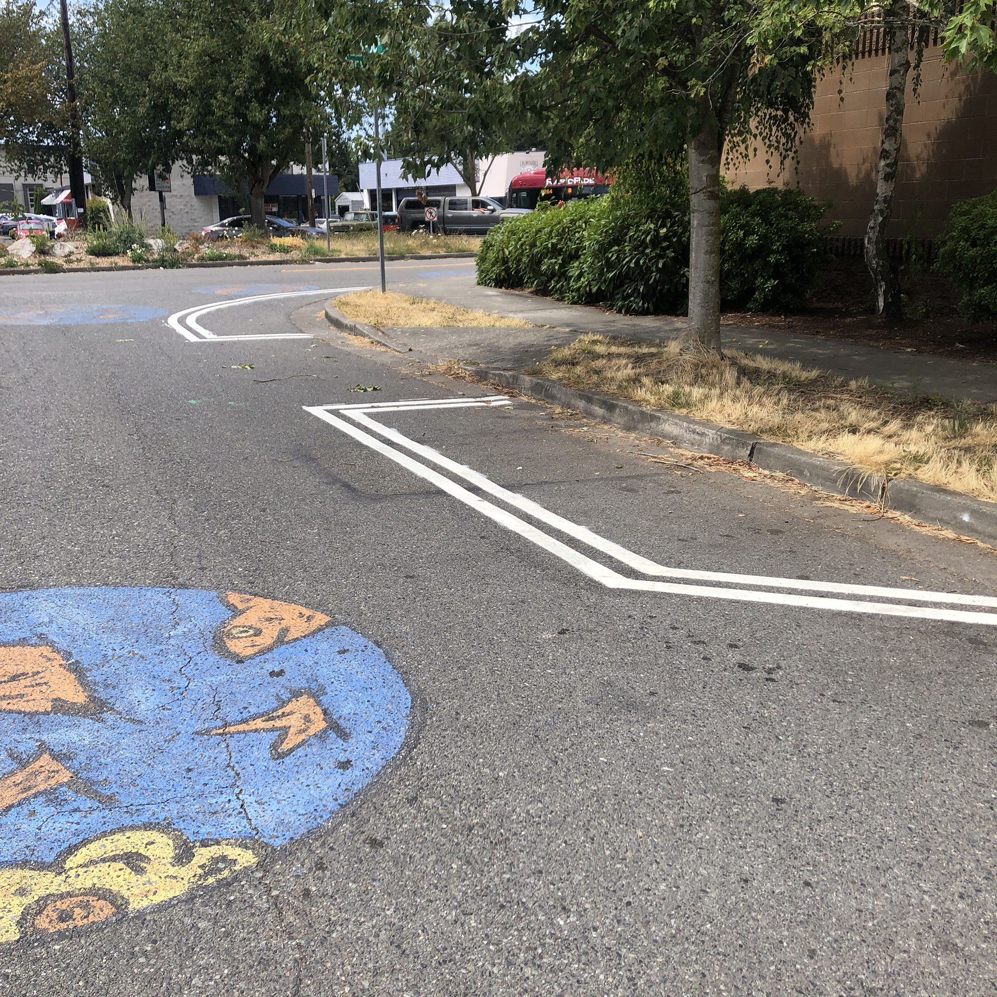 lines painted on the road, ready for the planters